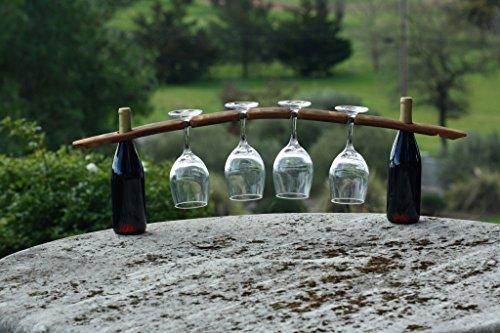 Sonoma Shop Girl Hand-Crafted Floating Wooden Wine Glass Holder Slots on Same Side