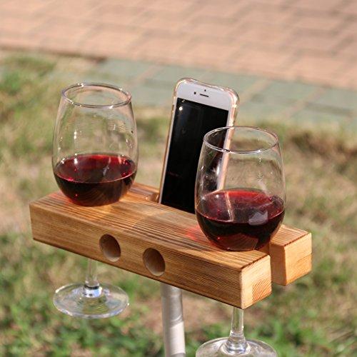 lieomo Handmade Outdoor Wooden Wine Glass Holder Phone Dock  SpeakerDark wood color