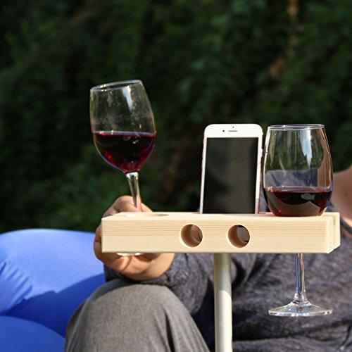 lieomo Handmade Outdoor Wooden Wine Glass Holder Phone Dock  SpeakerShallow wood color