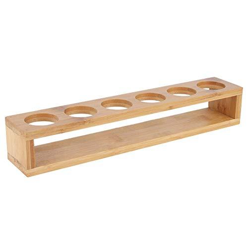 Fdit Wooden Single Row 6 Bottles Desktop Wine Cup Rack Glass Holder Display Shelf Organizer for Restaurant Cafe Bar Use 1
