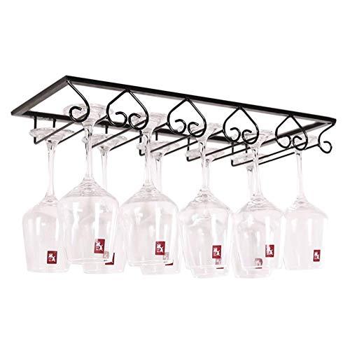 TQ Under Cabinet Hanging 5 Slots Wine Glass Rack Storage Stand European Style Iron Stemware Display Holder Shelf