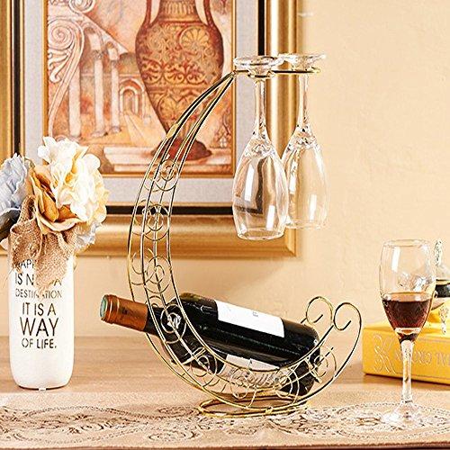 CdyBox Creative Wine Rack Furnishing Articles Wrought Iron Wine Bottle Holder European-Style Goblet Glass Hanging Holder Gold
