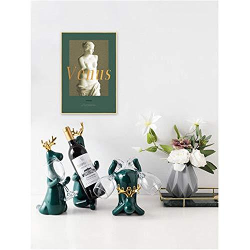 Wine Bottle Holder Copper Deer Small Decoration Living Room Wine Cabinet Wine Rack Restaurant Creative Decoration Gift Ideas for Wine Lovers Color  Set with vase Size  50x34cm