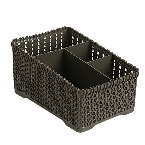 UNBRUVO Plastic Storage Box Office Desktop Finishing Box Cosmetics Debris Small Items Case Storage Container Dark Grey