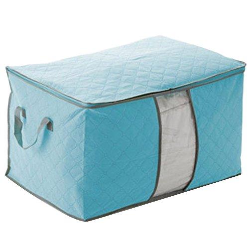 Bluelans Large Capacity Clothes Quilt Bedding Duvet Chests Laundry Pillows Blanket Storage Bag - Blue