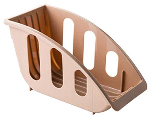 Betwoo Plastic Dish Drainer Rack Tableware Storage Shelves for Kitchen Beige