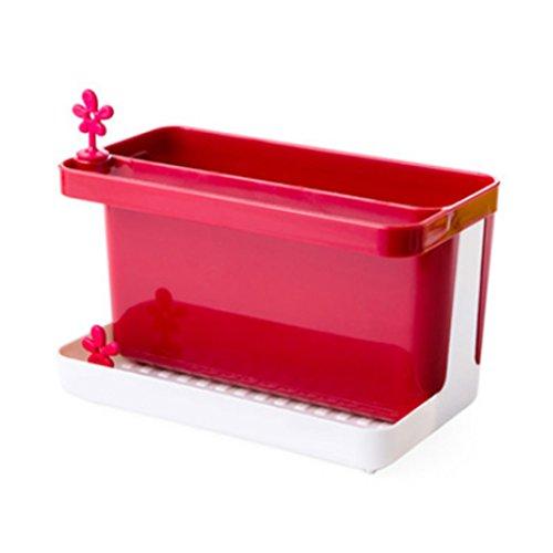 Katoot Multifunctional Draining Holder Creative Kitchen Sponge Cleaning Cloth Tableware Storage Box With Bottom Sink Organizer Red