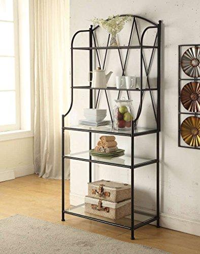 5-tier Black Metal Glass Shelf Kitchen Bakers Rack Scroll Design
