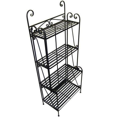 Folding Piper Bakers Rack Four Shelves - Black