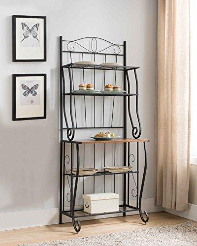 Kings Brand Furniture Black  Walnut 5-Tier Kitchen Storage Bakers Rack