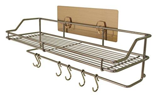 JustNile Removable Wall Adhesive Shower Caddy Basket Rack HolderSpice Rack with 6 Utensil Hooks