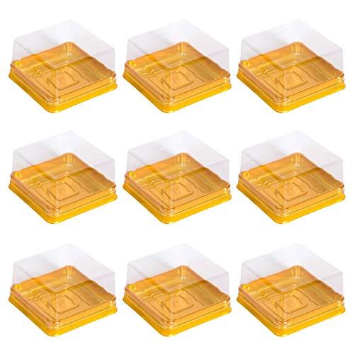 BESTONZON 50pcs Plastic Square Moon Cake Boxes Egg-Yolk Puff Container Golden Packing Box Mini Cake Storage BoxLarge