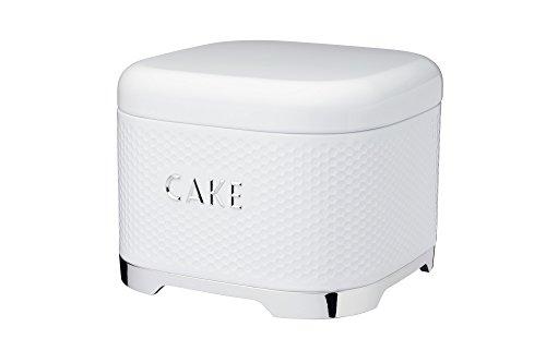 LOVELLO Textured Retro Cake Storage Tin Box with Lid in Ice White