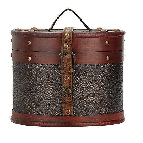 TMISHION Jewelry Box Tea Cake Organizer - Vintage Round Desktop Wooden Storage Display Box Jewelry Container B