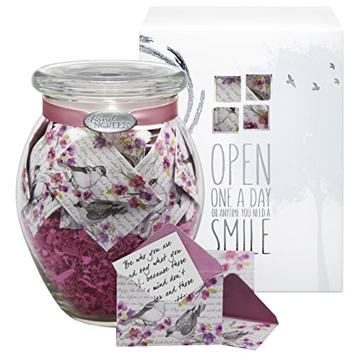 Glass KindNotes LOVE Keepsake Gift Jar of Messages for Him or Her Birthday Anniversary Long Distance Relationship - Birds and Flowers