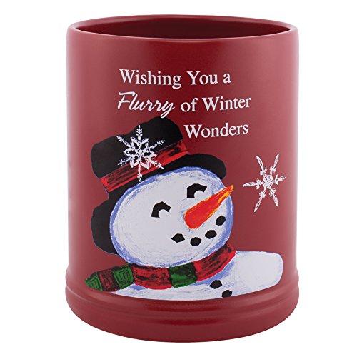 Classic Snowman Winter Wonders Red Christmas Ceramic Stone Holiday Jar Warmer