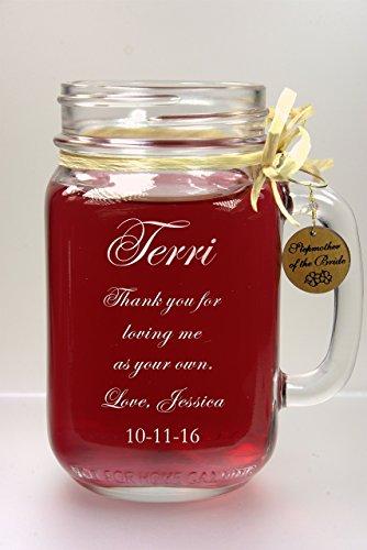Stepmom of Bride Wedding Gift Mason Jar with Handcrafted Cherrywood Charm