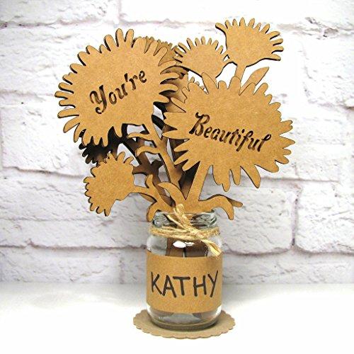 YOURE BEAUTIFUL Girlfriend Gift Mason Jar Cardboard Bouquet Flower Arrangement Sculptural Greetings