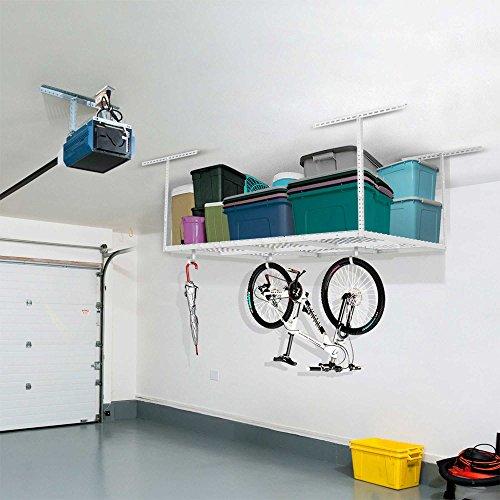 FLEXIMOUNTS 4x6 Heavy Duty Overhead Garage Adjustable Ceiling Storage Rack 72 Length x 48 Width x 40 Height White