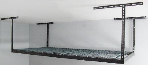 Monsterrax - 4x8 Overhead Garage Storage Rack Heavy Duty 12-21 Ceiling Drop - Hammertone