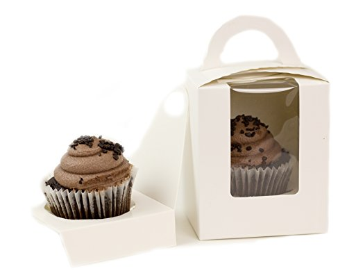 Single Cupcake Box With Window and Cupcake Holder white 25 Count Cupcake Container 4 12 Inches Tall With Carrying Handle and Easy Access Cupcake Holder 25