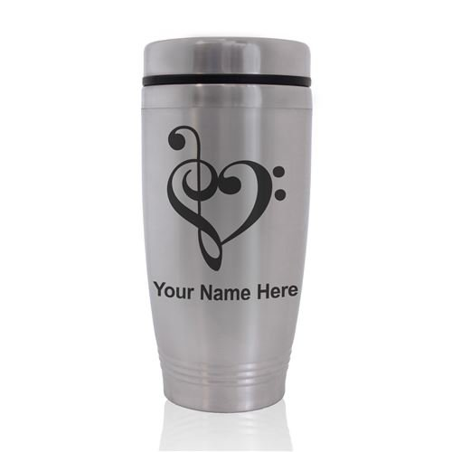 Commuter Travel Mug - Music Heart - Personalized Engraving Included