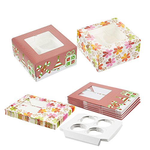 Cupcake Boxes with Windows - 12-Piece Wholesale Cupcake and Muffin Holder Containers with 4 Cavity Inserts 2 Christmas and Flower Designs 6 of Each 625 x 625 x 3 Inches