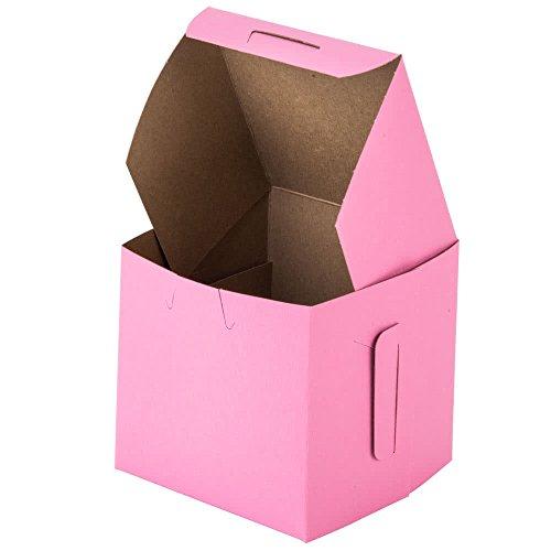 25 Pink Bakery Single Cupcake Boxes 4 x 4 x 4 Party Favor Mini Box