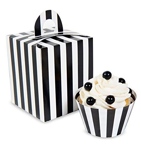 Black White Striped Cupcake Boxes 4