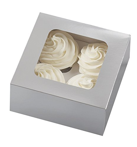 Cupcake Boxes-4 Cavity Silver 3Pkg