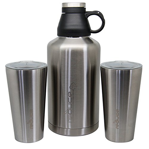 Reduce COLD-1 Stainless Steel Vacuum Insulated 64 Ounce Growler Gear with 2 Pints - Keeps Beer and Beverages Cold 48 Hours Hot for 12 Bring Hiking Camping Parties Tailgating To BBQs and More