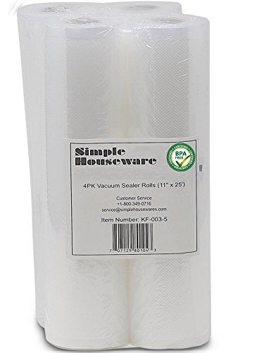 4 Pack - SimpleHouseware 11 x 25 Commercial Vacuum Sealer Rolls Food Storage Saver Compatible to Foodsaver Sous Vide total 100 feet