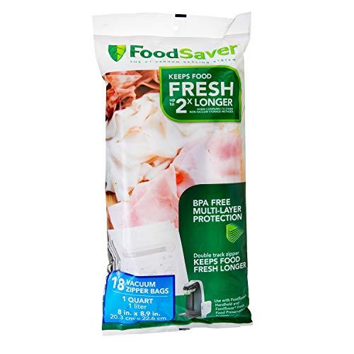 FoodSaver 1-Quart BPA-Free Multilayer Construction Vacuum Zipper Bags 18 Count