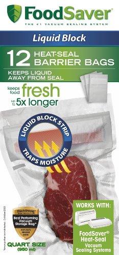 FoodSaver 1-Quart Liquid Block Heat-Seal Bags 12 Count - FSFSBFLB216-000