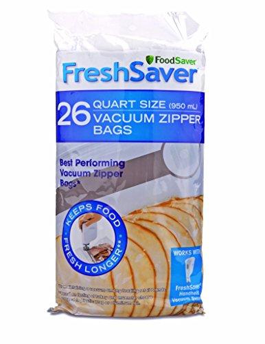 FoodSaver FSFRBZ0236-000R 1-Quart FreshSaver Vacuum Zipper Bags 26 Count Package might vary