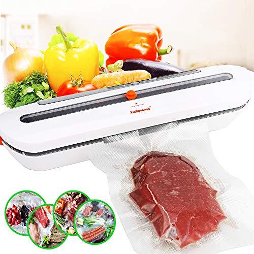 FoodOSeal Food Vacuum-Sealer for Dry-Moist Food Kitchen Tool Food-Sealer with 10pcs Sealer-Machine-Bags Food Preservation 1pack White
