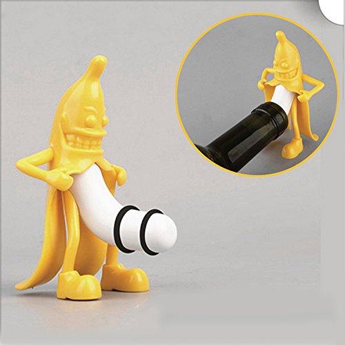 Banana Shaped Home Decoration Fresh Plug Vacuum Sealed Bottle Of Red Wine Plug Creative funny yellow villain banana people red wine plug