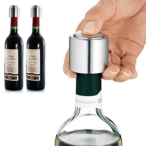 Familybuy Stainless Steel Vacuum Sealed Wine Bottle Stopper Preserver Pump Sealer Bar Stopper Keep Your Best Wine Fresh Fits 750ml Red Wine Bottle Stopper