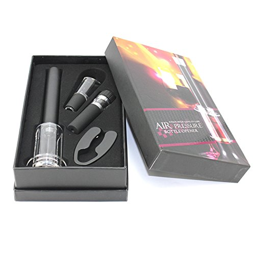 LEasylife Wine Accessory Set Includes Alloy Pressure Bottle Opener Foil Cutter Vacuum Saver Pump and Wine Aerator Pourer Set of 4 with Black Storage Box