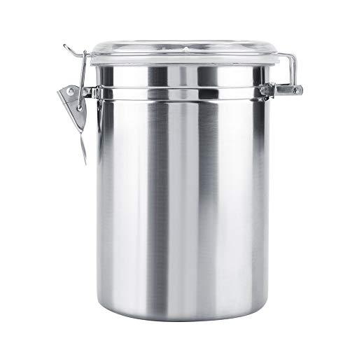 Aeloa Coffee Jar - Stainless Steel Coffee Container Vacuum Sealed Storage Jar for Sugar Tea Coffee Bean Silver Size  XL1900ml