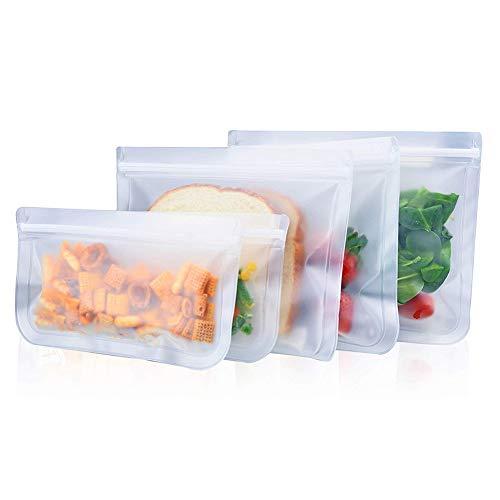 Braceus Braceus Extra Thick Reusable Storage Bags Sandwich Bags - 5Pcs Reusable Frosted Self Sealed Sandwiches Food Freezer Storage Bag Organizer Kids Snacks Fruit Travel Storage
