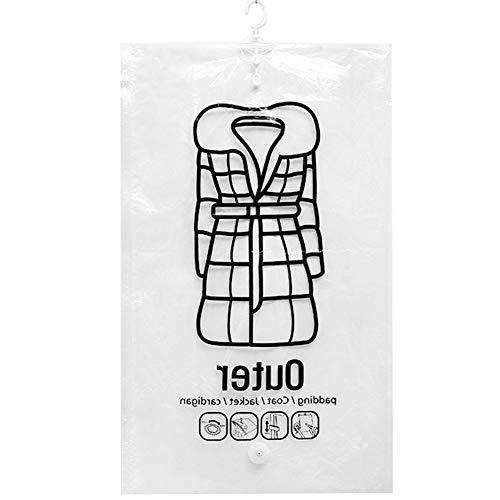 super1798 Folding Transparent Hanging Vacuum Space Saver Bag Coat Clothes Sealed Storage Pouch Sack 3D XL