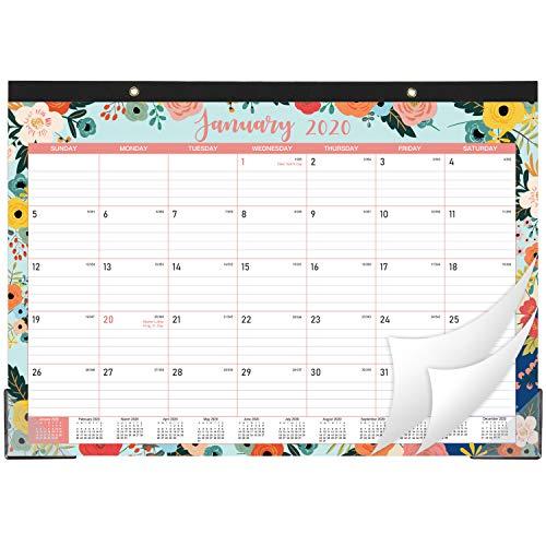 2020-2021 Desk Calendar - 18 Months DeskWall Calendar 2-in-1 17 x 12 January 2020 - June 2021 with Hanging Holes Ruled Blocks - Floral