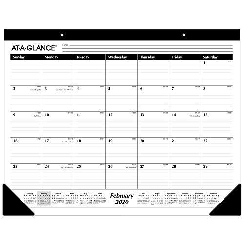 AT-A-GLANCE 2020 Desk Calendar Desk Pad 21-34 x 17 Standard Ruled Blocks SK2400