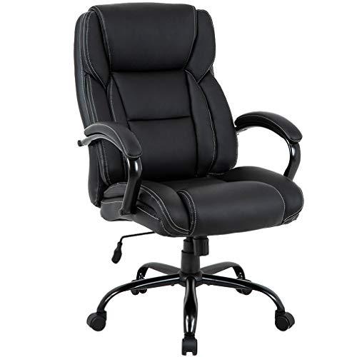 Big and Tall Office Chair 500lbs Cheap Desk Chair Ergonomic Computer Chair High Back PU Executive Chair with Lumbar Support Headrest Swivel Chair for Women Men AdultsBlack