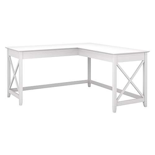 Bush Furniture Key West 60W L Shaped Desk Pure White Oak