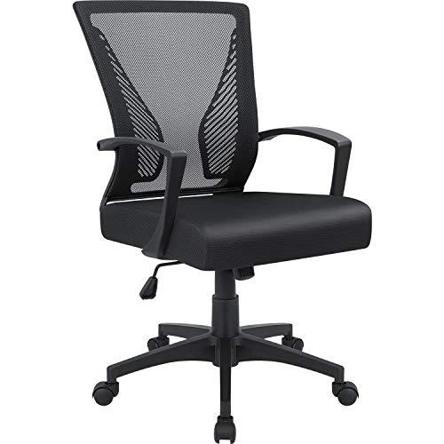 Furmax Office Mid Back Swivel Lumbar Support Desk Computer Ergonomic Mesh Chair with Armrest Black