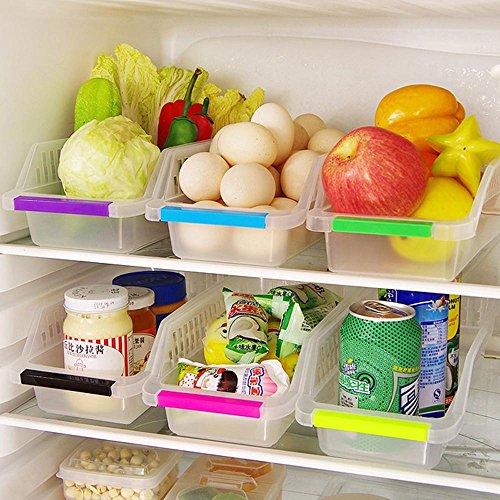 Refrigerator Freezer Stackable Storage Organizer Bins Pantry Storage Containers with Handles Random Color