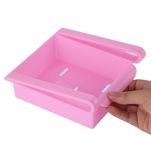 Slide Fridge Storage Rake Freezer Food Storage Boxes Pantry Storage Organizer Bins Container Space-saving Fridge Storage Box Pink