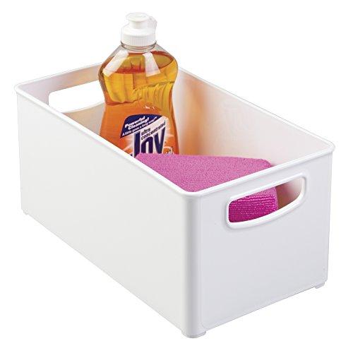 mDesign Kitchen Cabinet and Pantry Storage Organizer Bin - Deep White